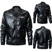 Men Autumn Winter Windproof Zipper Stand Collar Imitation Leather Jacket Coats L