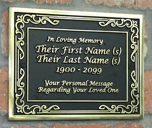 Brass Memorial Plaque In A Vintage Style With Your Wording In Raised Lettering