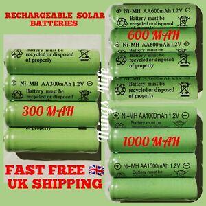 AA Ni-MH 300/600/1000mAh 1.2V Rechargeable Solar Light Batteries For Garden