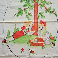 """Vintage 1930's Linen Tablecloth 33"""" x 48"""" Hand Embroidered Young Ladies Reading"""