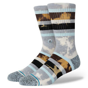 STANCE Brong Crew Socks sz L Large (9-12) Gray Brown Blue