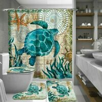 4Pcs Set Bathroom Non-Slip Pedestal Rug+Toilet Lid Cover+Bath Mat+Shower Curtain