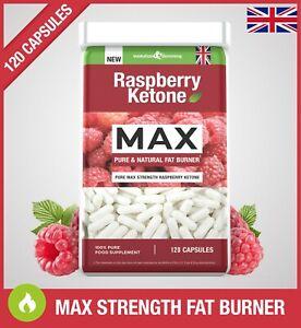 Raspberry Ketone MAX PURE FAT BURNER *120 CAPSULES* Super Strong Weight Loss UK