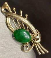 Designer Signed TY Lee Solid 14K yellow Gold Green Jade Brooch Vintage TYL  4586