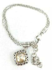 Brighton DANUBE bracelet triple chain yellow Champagne yellow crystal dangle