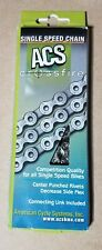 "ACS CROSSFIRE 1/2"" X 3/32""---106L BMX-FIXED BIKE BICYCLE SILVER CHAIN"