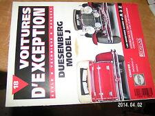 Voitures d'exception n°18 avec poster 4 pagesDuesenberg Model J / CCooper Cizeta
