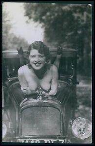 Biederer French nude woman & citroen automobile original c1925 photo postcard