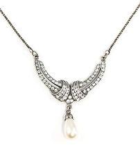 Jugendstil-Collier mit Swarovski-Steinen und Perle 9901677