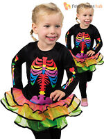 Girls Bright Skeleton Costume Neon Tutu Halloween Fancy Dress Toddler Childrens