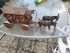 Vintage Wood & Metal Stage Coach Electric Table Lamp