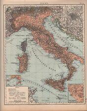 CARTINA MAP 1905: Italia. Roma Napoli Sardegna Sicilia