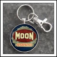 Vintage Moon Motor Cars Emblem Photo Keychain Pendant Gift 🎁 Free Shipping