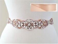 Wedding Sash Belt - Rose Gold Opal Crystal Pearl BELT in BLUSH satin sash