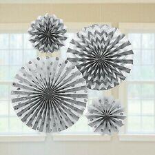 New ListingSilver Glitter Paper Hanging Fan Decorations x 4