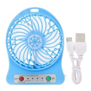 Portable Rechargeable Air Cooler LED Light USB Mini Desk Fan NO BATTERY