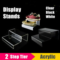 2 Tier Step Acrylic Display Riser Stand Shoes Jewellery Retail Counter  A