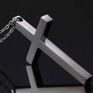 316L Stainless Steel Polishing Women Men's Silver Cross Pendant Necklace Chain