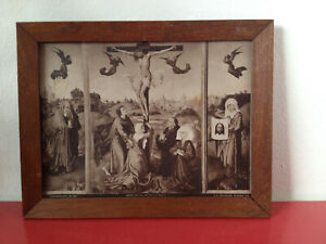 Antique Religious Print Jesus on Cross Angels 1905 Wooden Framed Rare Maria