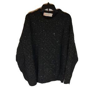 Quills Woolen Market Ireland Fisherman Chunky Sweater Men XL Pullover Charcoal