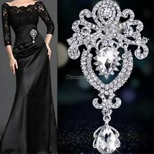 Large Flower Bridal Brooch Rhinestone Crystal Diamante Party Silver Broach OK