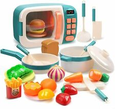 Kitchen Playset Microwave Toys Learning Pretend Play Cooking Set for Girls Boys