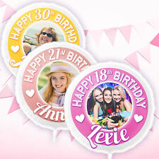 """Personalised Birthday Balloons with your Photo & Name Large 22"""" - 18th 21st 30th"""