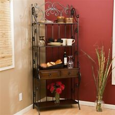 Black Wrought Iron Bakers Rack 5 Shelves & 2 Drawers In Walnut Veneer