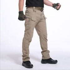Men's Tactical Waterproof Work Cargo with Pockets Loose Trousers Long Pants