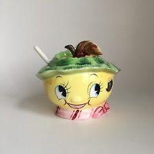 Vintage Anthropomorphic PY Napco Pear Jam Jelly Jar Lemon Fruit Faces 1950s