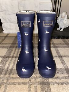 Joules Size 7 Navy With Ducks Mid Height Molly Wellies - New No Box