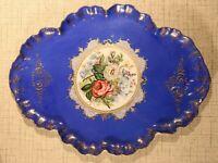 PL9-19) große Porzellan Platte Barock Motiv Blumen Blau Imperial peint a la main