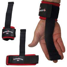 1 Paar Zughilfe Zughilfen Straps mit Bandage / Griffhilfe schwarz/rot NEU