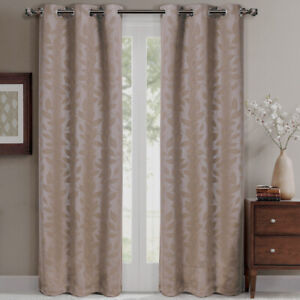 2 x Panel Virginia Blackout Grommet Window Curtain Set Leafy Design Weave Drapes