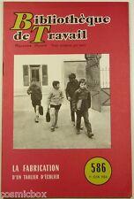 BT Bibliothèque de Travail n° 586 La FABRICATION d'un TABLIER d'ECOLIER en 1964
