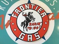 "classic FRONTIER GAS ""rarin to go""  - PORCELAIN COATED 18 gauge METAL SIGN"