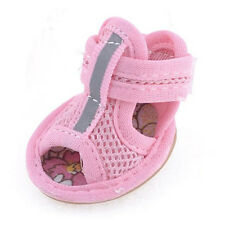 HE 2 Pairs Rubber Sole Pink Mesh Sandals Dog Shoes Size 1