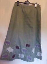 Boden UK14L EU42L US10L Khaki lined skirt with oval applique detailing above hem