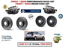 FOR AUDI A3 1.6 101bhp 1996-2003 FRONT + REAR PERFORMANCE BRAKE DISCS + PADS KIT