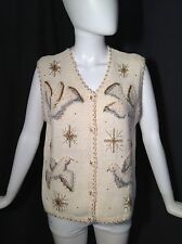 Belle Pointe Embellished Beaded Sequin Silver Gold Dove Believe Vest Sz M