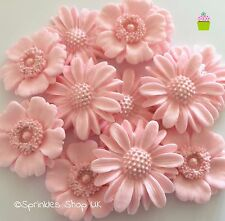 12 PINK BLUSH FLOWERS edible sugar cupcake cake decorations toppers wedding