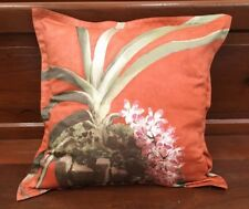 "JIM THOMPSON CUSHION COVER PINK ORCHID PRINTED ON ORANGE COTTON SQUARE 18"" x 18"""