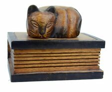 Vtg Hand carved wood Trinket box Sleeping cat on a book Jewelry Watch box