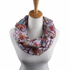 Women Summer Beach Ladies Owl Pattern Print Scarves Silk Warm Long Wrap Shawl