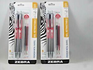 2 Zebra Pen G-350 Retractable Gel Pen w/ 2 Bonus Refills, Med Point, 0.7mm