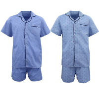 Men's 100% Cotton 2PCS Summer PJ Set Shirt Top Shorts Pajamas Sleepwear Nightie