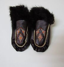 BROWN NATIVE AMERICAN FUR TRIM MOCCASIN SLIPPERS 5 INCHES YOUTH FUR CUFF TRIM