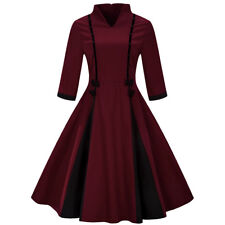 50s 60s Womens 3/4 Sleeve Vintage Rockabilly Pinup Swing Party Dress PLUS SIZE