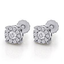 Genuine Diamond Cluster Mens Ladies Stud Earrings 14K White Gold 4 MM