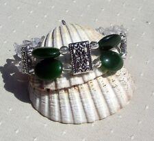 "Nephrite Jade & Clear Quartz Crystal Gemstone Bracelet ""Fabiana"""